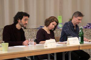 Die Jury hatte es nicht leicht, eine Entscheidung zu treffen, v.l.: Dario Corradini, Thomas Flath und Lena Helmer. Bild: Michael Talken/Eifeler Presse Agentur/epa