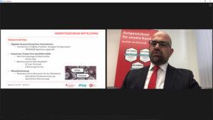 Der Leiter des S-FirmenCenters der KSK Euskirchen, Rainer Santema, betonte, dass in der Krise auch eine Chance für den Neuanfang liege und verwies auf entsprechende Förderprogramme. Bild/Screenshot: Michael Thalken/Eifeler Presse Agentur/epa